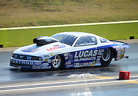 Sept. 22, 2012; Ennis, TX, USA: NHRA pro stock driver Larry Morgan during qualifying for the Fall Nationals at the Texas Motorplex. Mandatory Credit: Mark J. Rebilas-