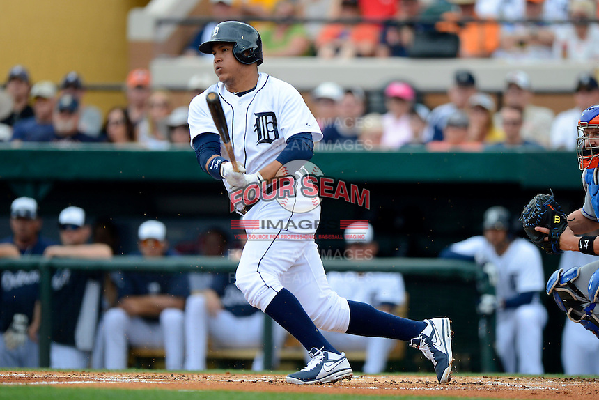 Detroit Tigers outfielder Avisail Garcia #34 during a Spring Training game against the New York Mets at Joker Marchant Stadium on March 11, 2013 in Lakeland, Florida.  New York defeated Detroit 11-0.  (Mike Janes/Four Seam Images)