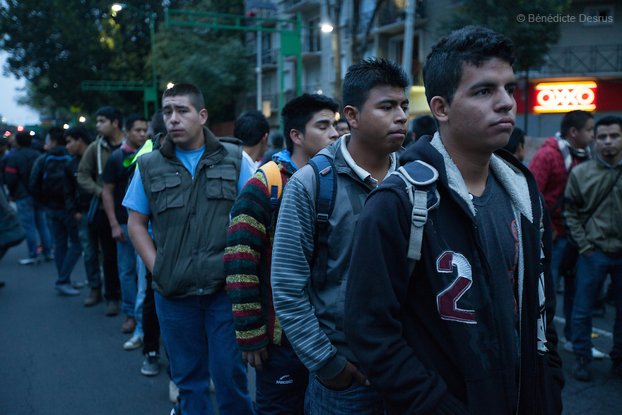 "Students from the teacher-training college ""Vasco de Quiroga"" in Tiripetio in the State of Michoacan ,march in support of the 43 missing Ayotzinapa's students, on a day normally reserved for the celebration of Mexico's 1910-17 Revolution, in Mexico City, Mexico on November 20, 2014. Parents of the 43 missing students still do not believe the official line that the young men are all dead. Criticism of the government has intensified in Mexico and the country has been convulsed by protests. Many are demanding justice and that the search for the 43 missing students continue until there is concrete evidence to the contrary. Mexico officially lists more than 20 thousand people as having gone missing since the start of the country's drug war in 2006, and the search for the missing students has turned up other, unrelated mass graves. (Photo by Bénédicte Desrus)"