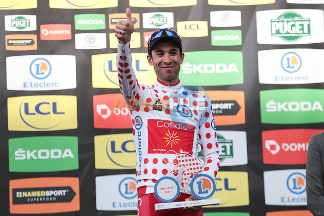Nicolas Edet (FRA) Cofidis takes over the mountains Polka Dot Jersey on the podium at the end of Stage 6 of the 78th edition of Paris-Nice 2020, running 161.5km from Sorgues to Apt, France. 13th March 2020.<br /> Picture: ASO/Fabien Boukla   Cyclefile<br /> All photos usage must carry mandatory copyright credit (© Cyclefile   ASO/Fabien Boukla)