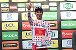 Nicolas Edet (FRA) Cofidis takes over the mountains Polka Dot Jersey on the podium at the end of Stage 6 of the 78th edition of Paris-Nice 2020, running 161.5km from Sorgues to Apt, France. 13th March 2020.<br /> Picture: ASO/Fabien Boukla | Cyclefile<br /> All photos usage must carry mandatory copyright credit (© Cyclefile | ASO/Fabien Boukla)