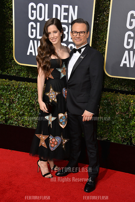 Christian Slater &amp; Brittany Lopez  at the 75th Annual Golden Globe Awards at the Beverly Hilton Hotel, Beverly Hills, USA 07 Jan. 2018<br /> Picture: Paul Smith/Featureflash/SilverHub 0208 004 5359 sales@silverhubmedia.com