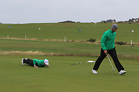 Robin Dawson and Peter O'Keeffe from Ireland on the 10th green during Round 3 Foursomes of the Men's Home Internationals 2018 at Conwy Golf Club, Conwy, Wales on Friday 14th September 2018.<br /> Picture: Thos Caffrey / Golffile<br /> <br /> All photo usage must carry mandatory copyright credit (&copy; Golffile | Thos Caffrey)