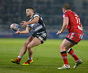 16th March 2018, The AJ Bell Stadium, Salford, England; Betfred Super League rugby, Salford Red Devils versus Hull FC; Jake Connor gets the pass away with Josh Jones tracking him