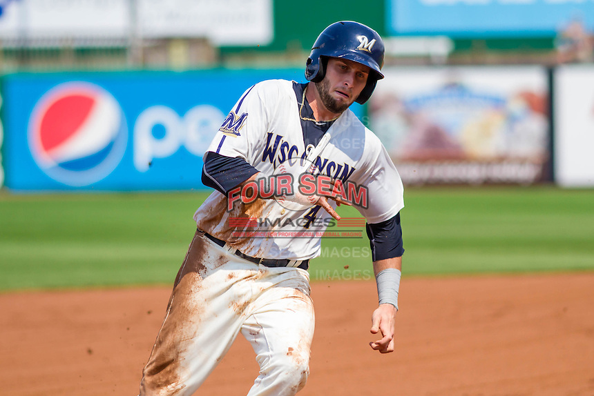 Wisconsin Timber Rattlers first baseman Alan Sharkey (4) rounds the bases during a Midwest League game against the Lake County Captains on July 24, 2016 at Fox Cities Stadium in Appleton, Wisconsin. Lake County defeated Wisconsin 6-2. (Brad Krause/Four Seam Images)