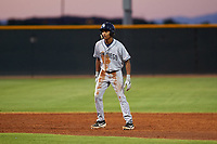 AZL Padres 1 CJ Abrams (8) leads off second base during an Arizona League game against the AZL Indians Red on June 23, 2019 at the Cleveland Indians Training Complex in Goodyear, Arizona. AZL Indians Red defeated the AZL Padres 1 3-2. (Zachary Lucy/Four Seam Images)