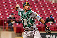 Beloit Snappers catcher Santiago Chavez (15) throws to first during a Midwest League game against the Wisconsin Timber Rattlers on April 10th, 2016 at Fox Cities Stadium in Appleton, Wisconsin.  Wisconsin defeated Beloit  4-2. (Brad Krause/Four Seam Images)