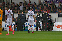 Barnet manager Martin Allen (far right) shouts instructions during the Sky Bet League 2 match between Newport County and Barnet at Rodney Parade, Newport, Wales on 3 September 2016. Photo by Mark  Hawkins / PRiME Media Images.