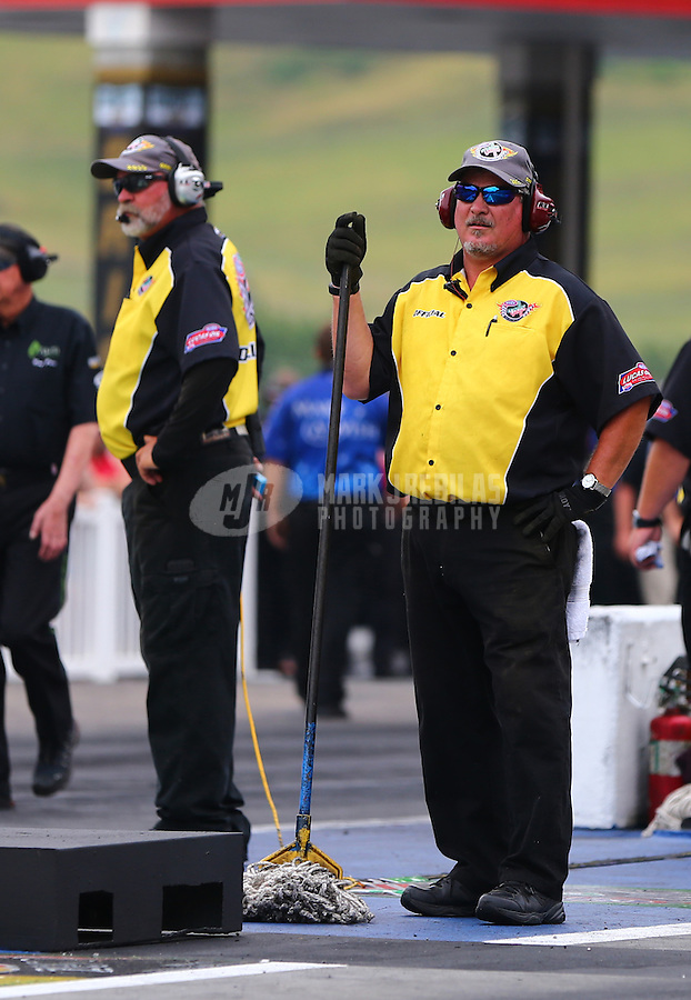 Jun 19, 2015; Bristol, TN, USA; NHRA Members of the Safety Safari during qualifying for the Thunder Valley Nationals at Bristol Dragway. Mandatory Credit: Mark J. Rebilas-