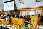 Garda Commissioner Drew Harris speaking at the Joint Policing Committee meeting at County Buildings, Tralee on Friday.