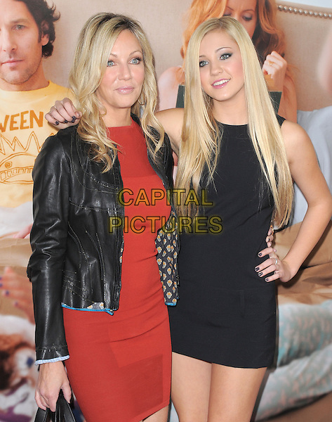 "Heather Locklear & Ava Sambora.""This Is 40"" Los Angeles Premiere held at Grauman's Chinese Theatre, Hollywood, California, USA..December 12th, 2012.half length black leather jacket red dress arm over shoulder hand on hip mother mom mum daughter family .CAP/DVS.©DVS/Capital Pictures."
