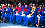 Students applaud their fellow speaker, Michael Fernandez, Sunday, June 11, 2017, during the DePaul University Driehaus College of Business commencement ceremony at the Allstate Arena in Rosemont, IL. (DePaul University/Jamie Moncrief)