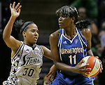 San Antonio's Helen Darling (30) moves to block Washington's Taj McWilliams-Franklin (11) during the WNBA game between the San Antonio Silver Stars and the Washington Mystics, June 6, 2008, at the AT&T Center, San Antonio, Texas. San Antonio won 63 - 52. (Darren Abate/PressPhotoIntl.com)