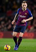 2nd February 2019, Camp Nou, Barcelona, Spain; La Liga football, Barcelona versus Valencia; Ivan Rakitic of FC Barcelona passes the ball through midfield