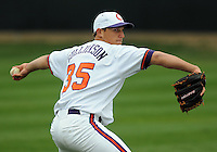 Clemson pitcher Craig Gullickson warms up prior to a game between the Clemson Tigers and Mercer Bears on Feb. 24, 2008, at Doug Kingsmore Stadium in Clemson, S.C. Photo by: Tom Priddy/Four Seam Images