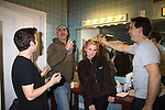 """Making up Mandy backstage - Cast left to right: Paul Wyatt, Howard Kaye, Jay Montgomery and Guiding Light's Mandy Bruno star in """"I Hate Hamlet"""" presented by the Harbor Light theater Company on November 19, 2010 at the Snug Harobr Cultural Center, Staten Island, New York. (Photo by Sue Coflin/Max Photos)"""