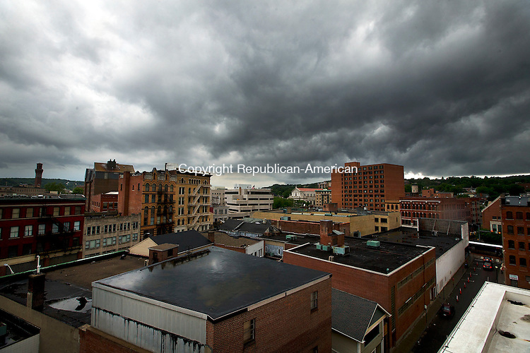 Waterbury, CT- 31 May 2015-053115CM11-  Clouds hang over Waterbury as rain moves into the greater Waterbury area on Sunday.  According to the National Weather Service, Monday is expected to bring showers and possibly a thunderstorm with a high near 55 degrees.  Christopher Massa Republican-American