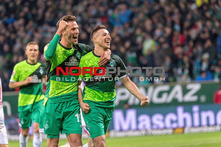 10.02.2019, Weser Stadion, Bremen, GER, 1.FBL, Werder Bremen vs FC Augsburg, <br /> <br /> DFL REGULATIONS PROHIBIT ANY USE OF PHOTOGRAPHS AS IMAGE SEQUENCES AND/OR QUASI-VIDEO.<br /> <br />  im Bild<br /> <br /> jubel tor 4:0 <br /> Kevin M&ouml;hwald / Moehwald (Werder Bremen #06)<br /> Sebastian Langkamp (Werder Bremen #15)<br /> <br /> Foto &copy; nordphoto / Kokenge