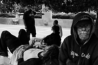 Denver, Colorado, June 20, 2012.Homeless drifters and junkies in front of the Colorado Capitol.
