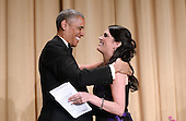 United States President Barack Obama greets Saturday Night Live's comedian Cecily Strong during the annual White House Correspondent's Association Gala at the Washington Hilton hotel April 25, 2015 in Washington, D.C. The dinner is an annual event attended by journalists, politicians and celebrities.<br /> Credit: Olivier Douliery / Pool via CNP