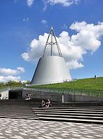 Nederland Delft- Augustus 2018.  Bibliotheek van de Technische Universiteit. Het gebouw is een ontwerp van Mecanoo architecten.  . Foto Berlinda van Dam / Hollandse Hoogte