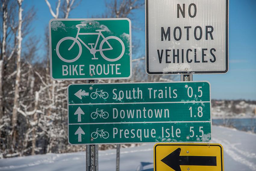 Bike Trail signage in Marquette, Michgan.