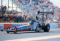 Oct 19, 2019; Ennis, TX, USA; NHRA top alcohol dragster driver Julie Nataas during qualifying for the Fall Nationals at the Texas Motorplex. Mandatory Credit: Mark J. Rebilas-USA TODAY Sports