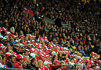 Fans in the grandstand during the Australian Rules Football ANZAC Day match between St Kilda Saints and Sydney Swans at Westpac Stadium, Wellington, New Zealand on Thursday, 24 May 2013. Photo: Dave Lintott / lintottphoto.co.nz