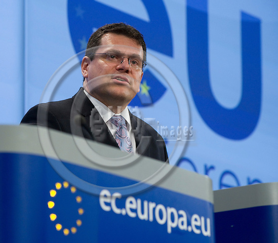 Brussels-Belgium - March 11, 2010 -- Maros SEFCOVIC (?ef?ovi?, Maro?), Vice-President of the European Commission, from Slovakia and in charge of Inter-institutional Relations and Administration, during a press conference in the HQ of the EC -- Photo: Horst Wagner / eup-images