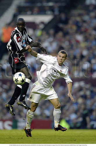 LILIAN THURAM wins the ball from Shevchenko, JUVENTUS 0 v AC Milan 0 aet, UEFA Champions League Final, Old Trafford, Manchester 030528 Photo: Neil Tingle/Action Plus<br />