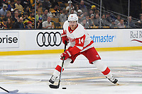 September 26, 2018: Detroit Red Wings right wing Gustav Nyquist (14) in game action during the NHL pre-season game between the Detroit Red Wings and the Boston Bruins held at TD Garden, in Boston, Mass. Detroit defeats Boston 3-2 in overtime. Eric Canha/CSM