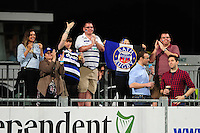 Bath Rugby fans in the crowd show their support. Pre-season friendly match, between Leinster Rugby and Bath Rugby on August 26, 2016 at Donnybrook Stadium in Dublin, Republic of Ireland. Photo by: Patrick Khachfe / Onside Images