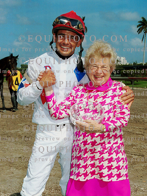 2/9/01.Dr. Ruth with jockey Mike Smith in the winners circle after winning the 1st race at Gulfstream Park.  Photo by: EQUI-PHOTO