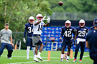 July 27, 2017: New England Patriots wide receiver Brandon Cooks (14) makes a catch at the New England Patriots training camp held on the practice field at Gillette Stadium, in Foxborough, Massachusetts. Eric Canha/CSM