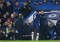 Chelsea Manager, Frank Lampard pats Tammy Abraham on his back after the Chelsea striker was substituted during Chelsea vs Aston Villa, Premier League Football at Stamford Bridge on 4th December 2019
