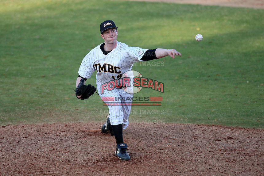 March 14, 2010:  Pitcher Travis Pearson of UMBC in a game vs. Bucknell at Chain of Lakes Stadium in Winter Haven, FL.  Photo By Mike Janes/Four Seam Images