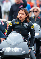 Mar 16, 2019; Gainesville, FL, USA; NHRA pro stock motorcycle rider Jianna Salinas during the Gatornationals at Gainesville Raceway. Mandatory Credit: Mark J. Rebilas-USA TODAY Sports