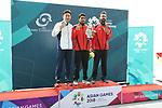 (L-R) Tomoyuki Matsuda (JPN), SAURABH<br /> Chaudhary (IND), Abhishek Verma (IND), <br /> AUGUST 21, 2018 - Shooting : <br /> Men's 10m Air Pistol Medal ceremony<br /> at Jakabaring Sport Center Shooting Range <br /> during the 2018 Jakarta Palembang Asian Games <br /> in Palembang, Indonesia. <br /> (Photo by Yohei Osada/AFLO SPORT)