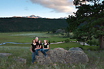 Fay family portrait, evening in Moraine Park, Rocky Mountain National Park, Colorado, USA