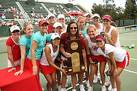 23 May 2006: Julie Scott-Thu, Megan Doheny, Anne Yelsey, Frankie Brennan, Whitney Deason, Jessica Leck, Lejla Hodzic, Alice Barnes, Celia Durkin, Joanna Kao, Lele Forood, Theresa Logar, Jessica Nguyen, and Amber Liu hold the trophy after Stanford's 4-1 win over the Miami Hurricanes in the 2006 NCAA Division 1 Women's Tennis Team Championships at the Taube Family Tennis Stadium in Stanford, CA.