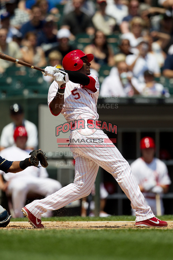 Chicago White Sox third baseman Orlando Hudson #5 swings during the Major League Baseball game against the Milwaukee Brewers on June 24, 2012 at US Cellular Field in Chicago, Illinois. The White Sox defeated the Brewers 1-0 in 10 innings. (Andrew Woolley/Four Seam Images).