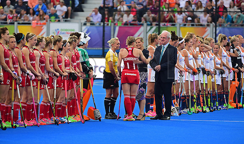 30.08.2015. Lea Valley, London, England. Unibet EuroHockey Championships Day 10. Gold Medal Final. England versus Netherlands. Kate Richardson-Walsh (ENG) is presented to the Countess of Wessex
