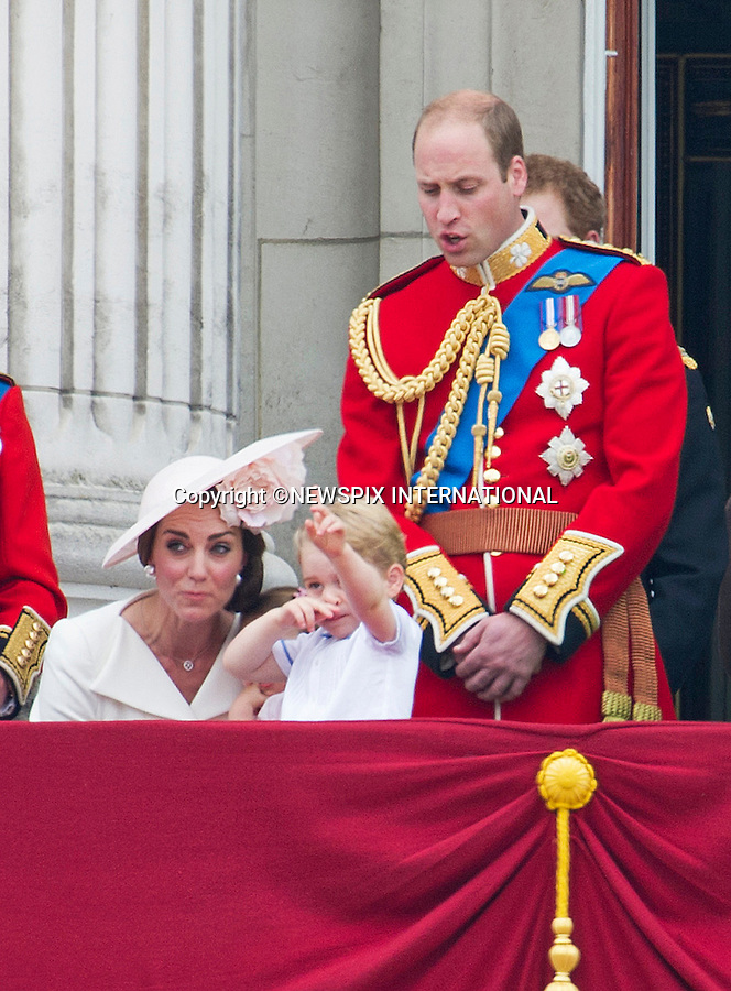 11.06.2016; London, UK: PRINCE GEORGE'S &quot;AWKWARD SALUTE&quot; - QUEEN&rsquo;S 90TH OFFICIAL BIRTHDAY<br /> Following the Trooping the Colour flypast, Prince George soon to be three-years-old, appeared to take a pose very reminiscent of a Nazi salute.<br /> Similar footage of the Queen and her sister performing a similar salute during the war were publicised. <br /> Most members of the British Royal Family joined the Queen for the Trooping The Colour that marks her official birthday.<br /> It was also the first time that 1-year-old Princess Charlotte made and appearnce on the Buckingham Palace balcony.<br /> Royals present included the Duke of Edinburgh, Prince Charles and Camilla, Duchess of Cornwall, Prince William, Kate Middleton, Prince George; Princess Charlotte; Prince Harry, Prince Andrew; Princess Beatrice, Princess Eugenie, Prince Edward, Sophie Wessex, Viscount Severn, Lady Louise Mountbatten-Windsor, Princess Anne, Zara Phillips &amp; Mike Tindal, Prince and Princess Michael Of Kent, Lady Helen Taylor, Duke of Kent, Duke of Gloucester and Duchess of Gloucester,Peter Phillips and Autumn and Lady Amelia Windsor.<br /> Mandatory Credit Photo: &copy;NEWSPIX INTERNATIONAL<br /> <br /> (Failure to credit will incur a surcharge of 100% of reproduction fees) <br /> IMMEDIATE CONFIRMATION OF USAGE REQUIRED:<br /> Newspix International, 31 Chinnery Hill, Bishop's Stortford, ENGLAND CM23 3PS<br /> Tel:+441279 324672  ; Fax: +441279656877<br /> Mobile:  07775681153<br /> e-mail: info@newspixinternational.co.uk<br /> Special Fees May Apply. Please refer to usage terms. All Fees Payable To Newspix International
