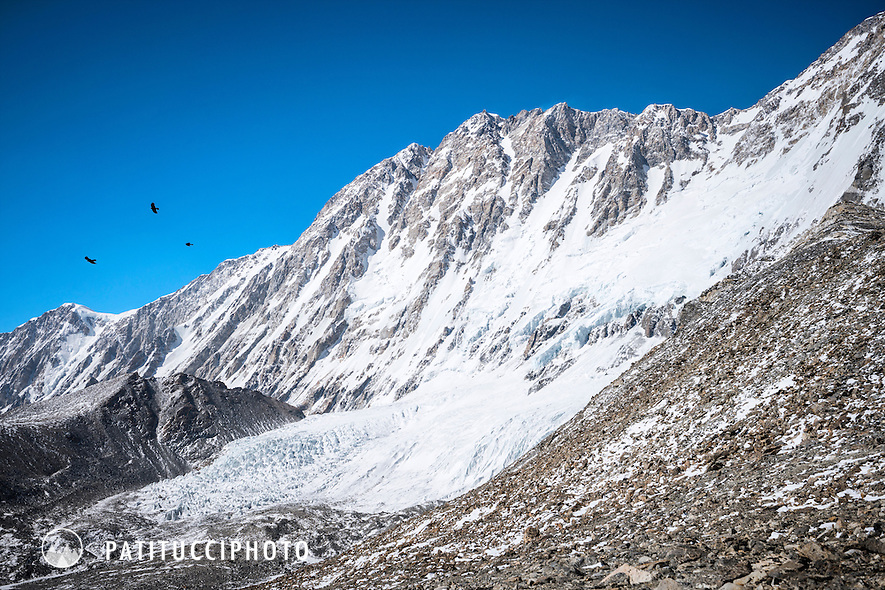 The south face of Shishapangma as seen from Ueli Steck and David Göttler's advance basecamp during their climbing expedition to the 8000 meter peak Shishapangma, Tibet