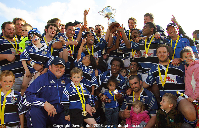 Wanganui players celebrate with the Meads Cup during the AA Rewards Heartland Championship  Meads Cup Final between Wanganui and West Coast at Cooks Gardens, Wanganui, New Zealand on Saturday, 25 October 2008. Photo: Dave Lintott / lintottphoto.co.nz