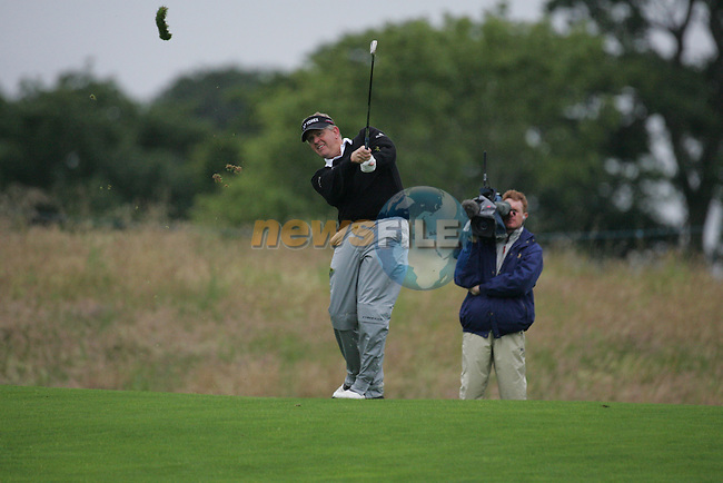 Colin Montgomerie takes his 2nd shot on the par 4 4th hole during the first round of the Smurfit Kappa European Open at The K Club, Strffan,Co.Kildare, Ireland 5th July 2007 (Photo by Eoin Clarke/NEWSFILE)