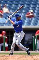 Dunedin Blue Jays outfielder Dalton Pompey (23) at bat during a game against the Clearwater Threshers on April 6, 2014 at Bright House Field in Clearwater, Florida.  Dunedin defeated Clearwater 5-2.  (Mike Janes/Four Seam Images)