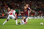 UEFA Champions League 2013/2014.<br /> FC Barcelona vs AFC Ajax: 4-0 - Game: 1.<br /> Denswill, Van Rhijn &amp; Messi.