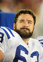 Sept. 27, 2009; Glendale, AZ, USA; Indianapolis Colts center Jeff Saturday against the Arizona Cardinals at University of Phoenix Stadium. Indianapolis defeated Arizona 31-10. Mandatory Credit: Mark J. Rebilas-