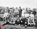 """The group in this 08 September 1900 photograph is identified as """"Drs. Baseball Team."""" Those in the photograph are, seated in the front row from left to right: Dr. C.A. Monaghan, Dr. T O'Rourke, Dr. J.D. Freney, Fran Guilfoile, and Harry Minor. In the second row from left to right are: T.F. Carmondy, Judge McGrarer, Charles W. Bauby, Harry Durant, L. Heminway and Dr. N.A. Pomeroy. In the third row from left to right are: Dr. McLinden, Edward Byrnes, Dr. T.J. Kilmartin, Dr. John Poor, Judge Charles A. Meggs, Dr. P.J. Dwyer, and John Holihan."""